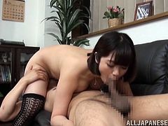 Busty Japanese model loves a to take an Asian dick in her mouth for a hardcore blowjob. She was fucked in her hairy pussy and gets a hot cumshot on her tits.