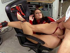 The amazingly sexy Vanda Lust wears the sexiest red thong while she takes a big hard cock up her tight little ass in the garage.