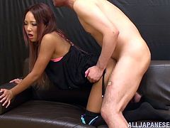 Watch this hot scene where this horny Asian babe jerks an old man off until her hands are covered by warm semen.
