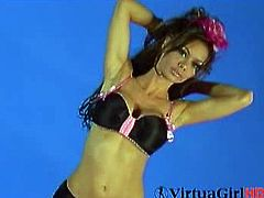 VirtuaGirl brings you a hell of a free porn video where you can see how the alluring brunette Crissy Moran strips and provokes with her body. She's ready to be VERY bad.