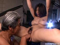 Asian chick Hikari Hino spreads her legs and enjoys a deep hardcore banging while hanging. She had a fun time with her hairy pussy being fucked and sucked hard.