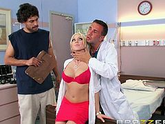Being a doc has its fun parts, especially when you have such a gorgeous blonde as your patient. Damn, just look at her, no wonder the good doc lost his minds and his pants! As soon as her bf left the room, the doc gave her a really close inspection and he made sure that the babe is perfect for a good fuck.
