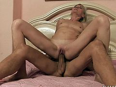Exotic matured cougar gets cozy with a masculine guy in bed before getting her shaved pussy penetrated hardcore from all directions
