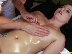 Have fun with this hardcore scene where the beautiful brunette Casey Cumz gets an oil massage before her masseuse fucks her silly.