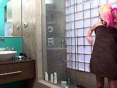 After Getting Drilled Doggystyle She Takes a Shower
