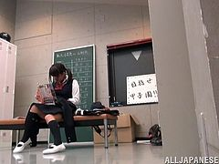 This Japanese college student is getting some school stuff in the locker room but turns out to get a hardcore fucking in school uniform.