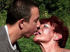Courageous granny gets cozy with a masculine cute guy before getting her sex hole penetrated hardcore from all directions as she yells