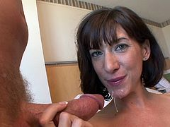 The gorgeous Kitty Wildwood swallows a big load of cum after riding that hard cock cowgirl style just the way she likes it.