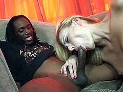 Interracial Cock Sucking Babe Gives Blowjob And Gets Face Creamed