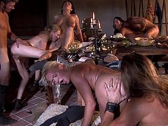 A sizzling hot blonde with long hair, massive natural tits and a fabulous body enjoys a hardcore gangbang. Hear her scream with pleasure now!