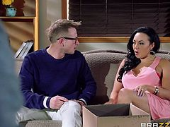 This guy barely keeps his dick in his pants while talking with the gorgeous brunette. She's married but that doesn't means she won't accept a good hard cock when her man is not around. After a short chat with her things get out of control and she ends up naked and pussy licked. Yeah, he's gonna fuck her hard!