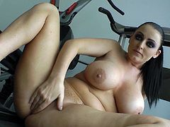 Check this brunette pornstar, with a big fake knockers wearing high heels, while she gets pounded hard in the gym by a steamy fellow.