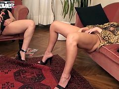 Two horny German lesbian amateurs start of showing their dildo skills to each other. Once they find out it´s boring they pull out the strap-on and start to fuck each other hard!