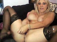 Sleaze blonde honey reaches her orgasm! Look at how she masturbate especially big nearly her sex toy till she sperms