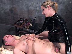 Want to see a real pro? Then sit back, relax and watch Maitresse Madeline! She's a devilish redhead with a filthy mind and skill fulled hands that know when to be gentle and when to be rough. Yeah, Madeline is now taking care of a cock and surely she will make the guy scream with pain and cum in the same time
