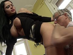 Christoph Clark and long-haired brunette Anastasia Brill are playing dirty games indoors. The old dude licks the girl's coochie, then fucks it in the missionary pose. After that Anastasia gives a footjob to Clark.