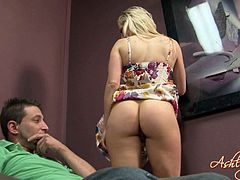 Blonde Babe Flaunts Her Hot Ass Then Yells As She Gets Licked