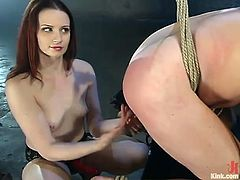 She's cute and milky white and at the first sight you will never guess that this chick is a kinky mistress with a ice cold heart and a passion for humiliating and punishing men. Well, don't judge her after her appearance, she's mean and knows how to pull this guy's balls and fuck his ass with a dildo!