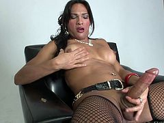 Bulky dark-haired tranny Jo Garcia, wearing a corset, thong and fishnet stockings, is having fun indoors. Jo jerks her big boner off and moans loudly with pleasure.