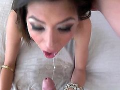 Ball sucking submissive sexy with whorish make up and great hunger for cock gives amazing deep throat to her dominant filthy boss with huge stiff bazooka in hotel room action.