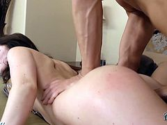 Eat Sleep Porn brings you a hell of a free porn video where you can see how the sexy brunette Lilly Carter rides a hard rod of meat while assuming very hot poses.
