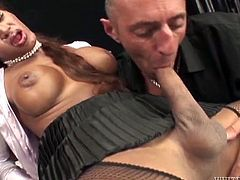 Light haired filthy shemale with big boobs gets her cock sucked hard