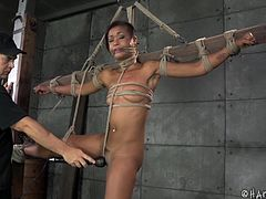 Skin Diamond is a slut that deserves a rough punishment. Luckily her executor is a skilled one so he tied her hard and played with her ass. Look at her now, bent over, whipped and spanked, just waiting for a hard cock in her ass. maybe Skin will receive more than she can handle and cry with both pleasure and pain