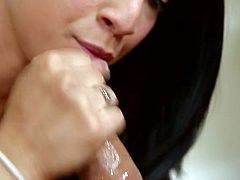 Black haired filthy hottie Mia Hurley gives stout deep throat