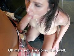 If you think offering sexual favors to a complete stranger is hot and kinky, click to watch Akasha in action! Once inside the room, the brown-haired chick undresses with sensual movements. The naughty bitch gets down on knees on the floor and begins sucking a big cock, which she seems to enjoy. See the rest!
