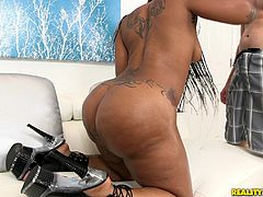 With a booty like that this hot black bitch can make every dick get rock-solid hard in a few seconds. Diamond got her big sexy ass oiled up and decided to offer her partner a booty dance. When he gets really horny he takes her inside and she gives him a blowjob. He takes her from behind and puts his dick in that big sexy pussy.