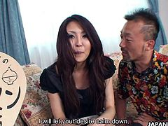 Alluring Japanese hottie Arisa lets a stranger into her home. She takes his big hard boner deep inside of her slippery twat whilst moaning passionately.