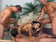 Awesome anal and pussy corruption as these huge furious boners sizzle while gang fucking phenomenal brunette temptress.