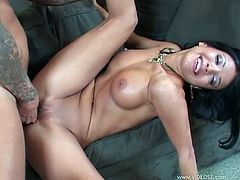 Anal brunette with fake tits given cumshot to swallow after sucking dick and getting shaved pussy and ass banged with cock and toy
