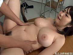Get a boner by watching this Asian pornstar, with giant love pillows wearing a miniskirt, while she goes hardcore and gets a cumshot on her face.
