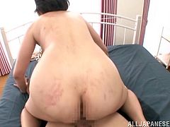 Make sure you check out this hot scene where this horny Asian babe plays with herself before sucking and being fucked by a guy.