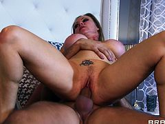 Take a look at this hardcore scene where the busty Dyanna Lauren sucks on a big cock before being fucked hard.