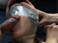Two horny cocks are awfully using a helpless brunette bitch. Mia is blindfolded and stays down on knees in the basement while her nipples are pinched. The captive slut has to satisfy the sadistic men with her mouth. Click to see a brutal blowjob! Enjoy.