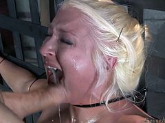 If you are into bondage and rough sex, you should take a look and enjoy the next kinky scenario. A blonde babe has been strongly tied up and bonded, too. There's no way out, so she obeys and takes a big cock in her mo