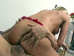 Cougar with shaved pussy in thong striptease lovely while displaying her hot ass before getting fucked hardcore doggystyle
