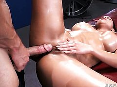 Johnny Sins makes Diamond Kitty scream and shout with his rock solid love wand in her ass