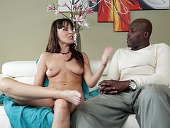 Lexington Steele and Dana Dearmond has just have sex. They sit on a sofa and talk about it. Lexington puts his pants and shirt on, but Dana doesn't mind everyone to see her nude body.