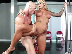 Johnny Sins plays hide the salamy with Britney Shannon with huge breasts