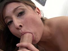 Press play on this hot scene where the gorgeous Bliss Dulce shows off her sexy body to the camera before sucking on a big cock and being facialized.