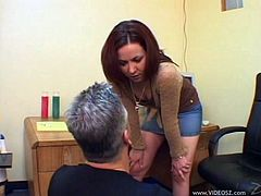 Redhead doll with long hair pegging a juicy tight asshole of her guy before getting her juicy sex hole licked in a femdom sex indoors
