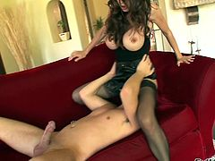 Milf with big tits in lingerie and black nylon stockings gives head before getting shaved pussy banged and hardcore anal pounding