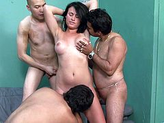 Take a look at this hardcore video where the horny Ashli Ames ends up covered by semen after being gangbanged by guys.