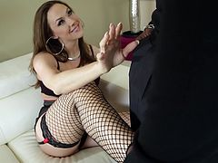 Press play to watch this babe, with a nice ass wearing fishnet stockings, while she has interracial sex with a big black meat stick.