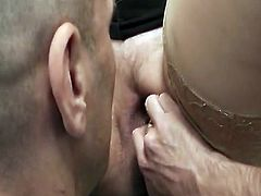 Chunky inside pantyhoses gets his super big schlong