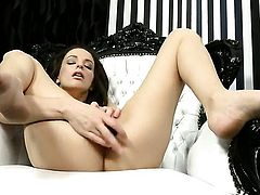 Ann Marie La Sante with tiny boobs and bald cunt enjoys another solo sex session