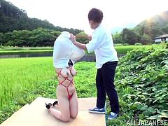 A stunning Asian MILF with Natural Tits is Fingered,masturbates does a nice blowjob then gets Her Hot Ass Banged outdoors while she cries out